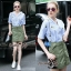 Lady Ribbon Online ขายส่งเสื้อผ้าแฟชั่นออนไลน์ เสื้อผ้า Normal Ally NA10080816 &#x1F389Normal Ally Present Pineapple print shirt striped and army tone skirt set&#x1F389 thumbnail 1