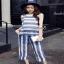 เซตเสื้อกางเกง ผ้าลูกไม้สีฟ้าครามสลับขาว thumbnail 1