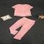 เซตเสื้อ+กางเกง ผ้าเกาหลีสีชม thumbnail 5