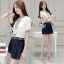 Sevy Two Pieces Of V Cut Collar Blouse With Short Belt Sets Type: Blouse+Shorts thumbnail 3
