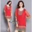 Lady Ribbon Online ขายส่งเสื้อผ้าออนไลน์ Very very pretty VP05030816 Bohemian Red-Chiffon Colorful beads Embroidery Blouse thumbnail 2