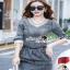 Seoul Secret Diamond Denim Dress งานสวยเก๋ด้วยเนื้อผ้ายีนส์ฟอกสีดำ thumbnail 1