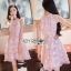 Lady Ribbon Ashley Pretty Feminine Butterfly-Embroidered Pearl Embellished Pink Dress thumbnail 1