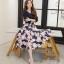 เสื้อผ้าแฟชั่นเกาหลีพร้อมส่งชุดเดรสสีกรมผ้ายืดเนื้อดี thumbnail 3