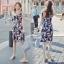 Lady Ribbon ออนไลน์ เสื้อผ้าออนไลน์ พร้อมส่งของแท้ SV05130716 &#x1F389Sevy Printed Flora Hollow Shoulder Straps Sleeveless Mini Dress thumbnail 1