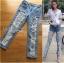 Lady Ribbon Online ขายส่งเสื้อผ้าออนไลน์เลดี้ริบบอน LR07010816 &#x1F380 Lady Ribbon's Made &#x1F380 Lady Elina Washed Ripped Skinny Jeans กางเกงยีนส์ thumbnail 1