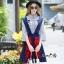 NA12290816 &#x1F389Normal Ally Present Embroidered skirt autumn new collection and striped shirt&#x1F389 (เสื้อเชิตริ้วปักการ์ตูน+ กป.ปักนูนลายกราฟฟิก, มีซับในอย่างดี) thumbnail 5