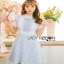 Lace Over Blue Crepe Mini Dress Lady Ribbon มินิเดรส thumbnail 2