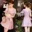 Mini Dress มินิเดรสตกแต่งผ้าพลีตสีชมพู thumbnail 1