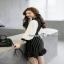 ชุดเดรสริ้วเกาหลีผ้าทอลายทางริ้วแฟชั่นขาวดำ thumbnail 6