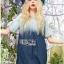 Lady Ribbon Online เสื้อผ้าออนไลน์ ขายส่งของแท้ราคาถููก LR10110716 &#x1F380 Lady Ribbon's Made &#x1F380 Lady Marina Cut-Out Pearl Embroidered Ombre Denim Dress thumbnail 2
