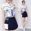 Lady Ribbon Online เสื้อผ้าแฟชั่นออนไลน์ขายส่ง เลดี้ริบบอนของแท้พร้อมส่ง sevy เสื้อผ้า SV02240716 &#x1F389Sevy Two Pieces Of Graphically Shirt With Fisho Embroidered Shorts Sets thumbnail 3