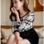 Lady Ribbon Online เสื้อผ้าออนไลน์ขายส่ง Lady Ribbon เสื้อผ้า LR13180816 &#x1F380 Lady Ribbon's Made &#x1F380 Lady Kim Smart Casual Check Embroidered Playsuit thumbnail 3