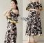 Lady Ribbon Online เสื้อผ้าออนไลน์ ขายส่งของแท้ราคาถููก LR07110716 &#x1F380 Lady Ribbon's Made &#x1F380 Lady Carley Beachy Relax Off-Shoulder Ruffle Maxi Dress thumbnail 1
