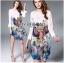 Lady Ribbon Online ขายส่งเสื้อผ้าออนไลน์เลดี้ริบบอน LR10010816 &#x1F380 Lady Ribbon's Made &#x1F380 Lady Olivia Smart Casual Colourful Printed Dress เดรสผ้าสีขาว thumbnail 1