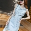 Lady Ribbon Online เสื้อผ้าแฟชั่นออนไลน์ขายส่ง เลดี้ริบบอนของแท้พร้อมส่ง Sevy เสื้อผ้า SV17240716 BEST SELLER-Restock &#x1F389Sevy Matel Hallow Light Blue Mini Denim Dress thumbnail 3