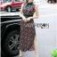 Lady Ribbon Online ขายส่งเสื้อผ้าออนไลน์ Lady Ribbon พร้อมส่ง LR17040816 &#x1F380 Lady Ribbon's Made &#x1F380 Lady Taylor Red-Green Graphic Printed Sleeveless Maxi Dress thumbnail 4