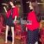 Lady Ribbon Dress and Red Outer Set เซ็ตเดรสสีดำ thumbnail 1