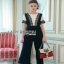 Lady Ribbon Black & White Lace Jumpsuit ขายจัมป์สูทผ้าเครป thumbnail 1