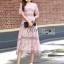 Lady Ribbon Online ขายส่งเสื้อผ้าออนไลน์ Lady Ribbon พร้อมส่ง LR18040816 &#x1F380 Lady Ribbon's Made &#x1F380 Lady Carly Feminine Pinky Striped Lace Maxi Dress เดรสยาวผ้าลูกไม้สี thumbnail 3