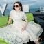 ผ้าทรงบานแต่งแฟชั่นซีทู เดรสลูกไม้เกาหลีลายดอกสวยหรู thumbnail 4