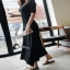 cliona Long dress สีดำแขนสั้นผ้ายืดหยุ่น thumbnail 3