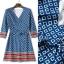 Lady Ribbon Online เสื้อผ้าออนไลน์ขายส่ง Normal Ally เสื้อผ้า,NA14220816 &#x1F389Normal Ally Present Autumn elegant graphic print V-neck swing dress&#x1F389 (เดรสพิมลายผ้าอย่างดี, มีซับในทั้งชุด) thumbnail 6