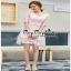 ชุดเดรสผ้าลูกไม้สีชมพูแขนยาว thumbnail 1