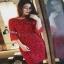 Cliona mini dress สีแดงสด แขน 5 ส่วน thumbnail 3