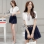 Sevy Two Pieces Of V Cut Collar Blouse With Short Belt Sets Type: Blouse+Shorts thumbnail 4