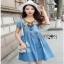 Blue Denim Dress Lady Ribbon เดรสผ้าเดนิม thumbnail 2