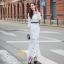 H G เสื้อผ้า ชุดเดรสแฟชั่นเกาหลีสีขาวคอกลม thumbnail 4