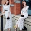 H G เสื้อผ้า ชุดเดรสแฟชั่นเกาหลีสีขาวคอกลม thumbnail 2