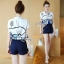Lady Ribbon Online เสื้อผ้าแฟชั่นออนไลน์ขายส่ง เลดี้ริบบอนของแท้พร้อมส่ง sevy เสื้อผ้า SV02240716 &#x1F389Sevy Two Pieces Of Graphically Shirt With Fisho Embroidered Shorts Sets thumbnail 1