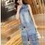 Lady Ribbon Online ขายส่งเสื้อผ้าออนไลน์ ขายส่งของแท้พร้อมส่ง Lady Ribbon LR05250716 &#x1F380 Lady Ribbon's Made &#x1F380 Lady Shannon Embroidered and Laser-Cut Denim Shirt Dress thumbnail 2