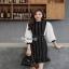 ชุดเดรสริ้วเกาหลีผ้าทอลายทางริ้วแฟชั่นขาวดำ thumbnail 7