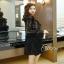 เสื้อผ้าแฟชั่นเกาหลีCliona Winter Black Lace Dress เดรสแขนยาวโทนขาวดำ thumbnail 4