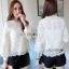 Lady Ribbon Classic Sweet Lace Blouse เสื้อผ้าลูกไม้สีขาว thumbnail 1