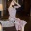 Lady Ribbon Classy Feminine Peplum Pink Lace Dress thumbnail 4