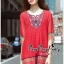 Lady Ribbon Online เสื้อผ้าออนไลน์ ขายส่ง VP01110717 Bohemian Red-Chiffon Colorful beads Embroidery Blouse thumbnail 4