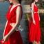 Sevy Ribbon Shoulder Sexy Waist Back Red Hot Maxi Dress thumbnail 3