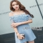 Lady Ribbon Baby Blue Lace and Crepe Mini Dress thumbnail 3