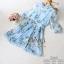 2Sister Made, Sweet Lovely Cuties Blue Wonder Dress เดรสสั้นลุคสาวหวาน ผ้าchiffonพริ้วบางเบาพิมพ์ลายดอกสวยทั้งตัว thumbnail 7