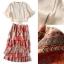 Normal Ally Present Casual summer V-neck bow back shirt and vintage print layer skirt set&#x1F389 (เสื้อ + กระโปรง, มีซับในอย่างดี) thumbnail 6