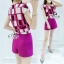 Sevy Two Pieces Of Shocking Pink Square Blouse With Shorts Sets thumbnail 2
