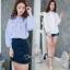 เสื้อผ้าเกาหลี Clionaเสื้อแขนยาวเย็บจั้มปลายแขน thumbnail 1