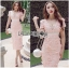 Lady Ribbon Online ขายส่งเสื้อผ้าออนไลน์เลดี้ริบบอน LR21010816 &#x1F380 Lady Ribbon's Made &#x1F380 Lady Gabriella Sexy Feminine Flower Embroidered Pinky Dress thumbnail 1