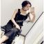Lady Ribbon Yves Studded Belt-Strap Black Crepe Jumpsuit thumbnail 2