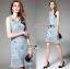 Lady Ribbon Online ขายส่งเสื้อผ้าออนไลน์เลดี้ริบบอน LR09010816 &#x1F380 Lady Ribbon's Made &#x1F380 Lady Nara Feminine Elegant Crystal Embroidered Lace Dress thumbnail 2