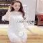 Classic White Lace Dress Lady Ribbon เดรสผ้าลูกไม้สีขาว thumbnail 2